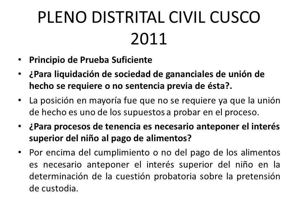 PLENO DISTRITAL CIVIL CUSCO 2011 Principio de Prueba Suficiente ¿Para liquidación de sociedad de gananciales de unión de hecho se requiere o no senten