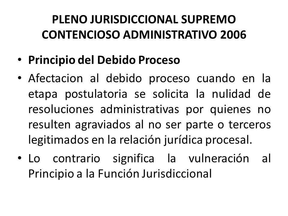 PLENO JURISDICCIONAL SUPREMO CONTENCIOSO ADMINISTRATIVO 2006 Principio del Debido Proceso Afectacion al debido proceso cuando en la etapa postulatoria