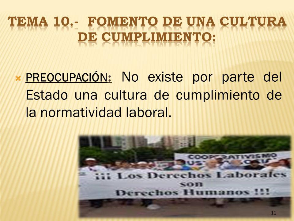 11 PREOCUPACIÓN : No existe por parte del Estado una cultura de cumplimiento de la normatividad laboral. 11
