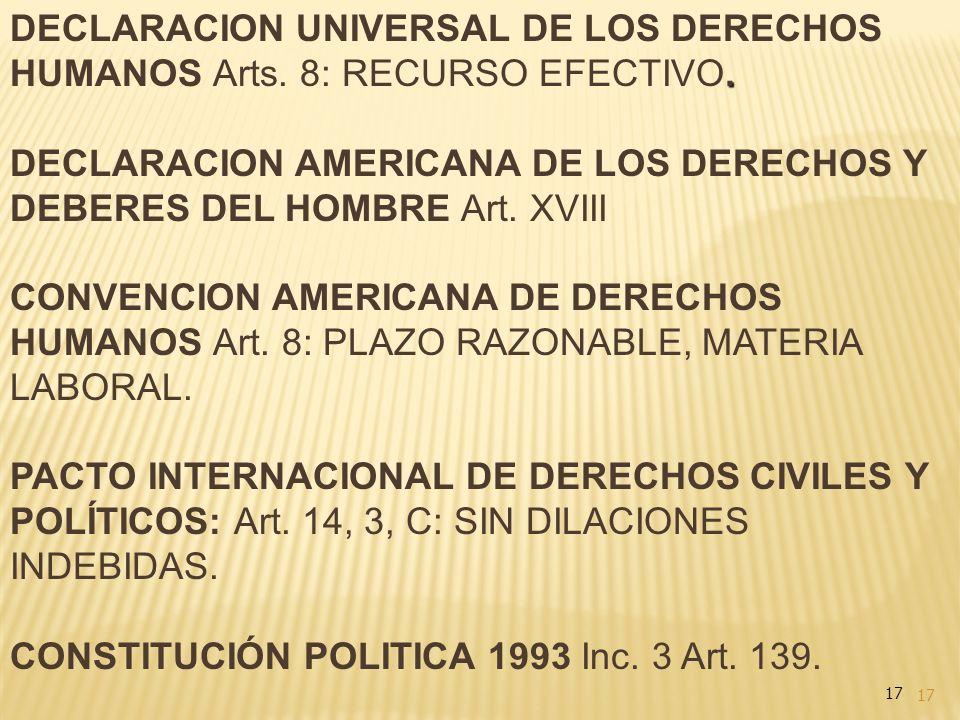 17. DECLARACION UNIVERSAL DE LOS DERECHOS HUMANOS Arts. 8: RECURSO EFECTIVO. DECLARACION AMERICANA DE LOS DERECHOS Y DEBERES DEL HOMBRE Art. XVIII CON