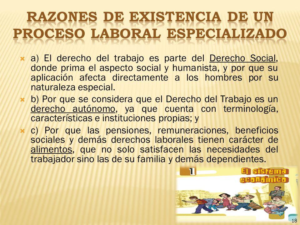 18 a) El derecho del trabajo es parte del Derecho Social, donde prima el aspecto social y humanista, y por que su aplicación afecta directamente a los