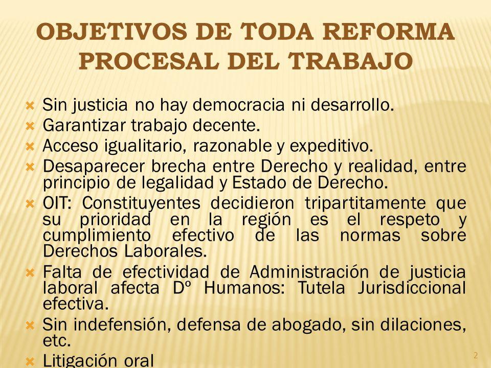 2 OBJETIVOS DE TODA REFORMA PROCESAL DEL TRABAJO Sin justicia no hay democracia ni desarrollo. Garantizar trabajo decente. Acceso igualitario, razonab