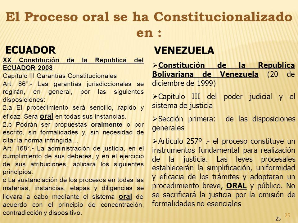 25 El Proceso oral se ha Constitucionalizado en : ECUADOR XX Constitución de la Republica del ECUADOR 2008 Capítulo III Garantías Constitucionales Art