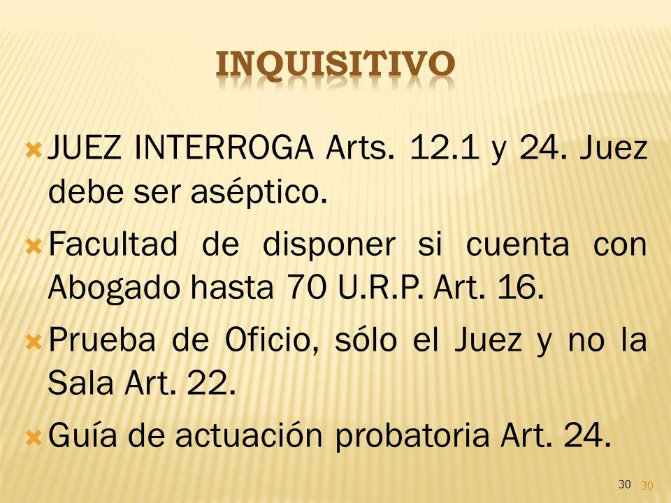 30 JUEZ INTERROGA Arts. 12.1 y 24. Juez debe ser aséptico. Facultad de disponer si cuenta con Abogado hasta 70 U.R.P. Art. 16. Prueba de Oficio, sólo