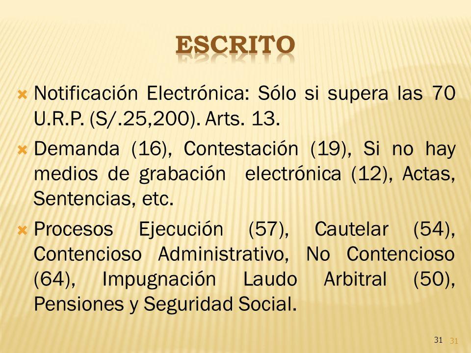 31 Notificación Electrónica: Sólo si supera las 70 U.R.P. (S/.25,200). Arts. 13. Demanda (16), Contestación (19), Si no hay medios de grabación electr