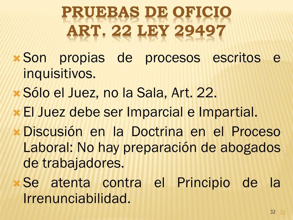 32 Son propias de procesos escritos e inquisitivos. Sólo el Juez, no la Sala, Art. 22. El Juez debe ser Imparcial e Impartial. Discusión en la Doctrin