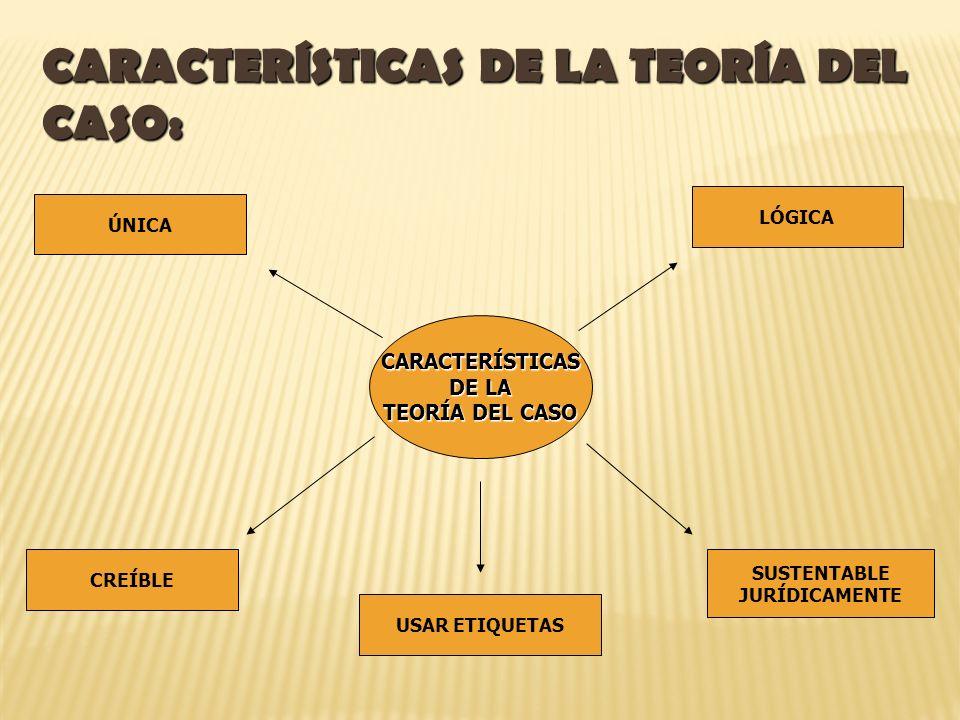 CARACTERÍSTICAS DE LA TEORÍA DEL CASO: CARACTERÍSTICAS DE LA TEORÍA DEL CASO ÚNICA CREÍBLE LÓGICA SUSTENTABLE JURÍDICAMENTE USAR ETIQUETAS