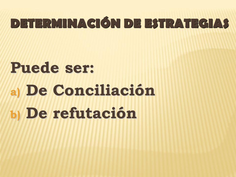 DETERMINACIÓN DE ESTRATEGIAS Puede ser: a) De Conciliación b) De refutación