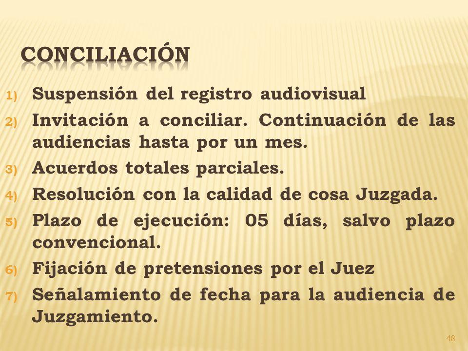 48 1) Suspensión del registro audiovisual 2) Invitación a conciliar. Continuación de las audiencias hasta por un mes. 3) Acuerdos totales parciales. 4