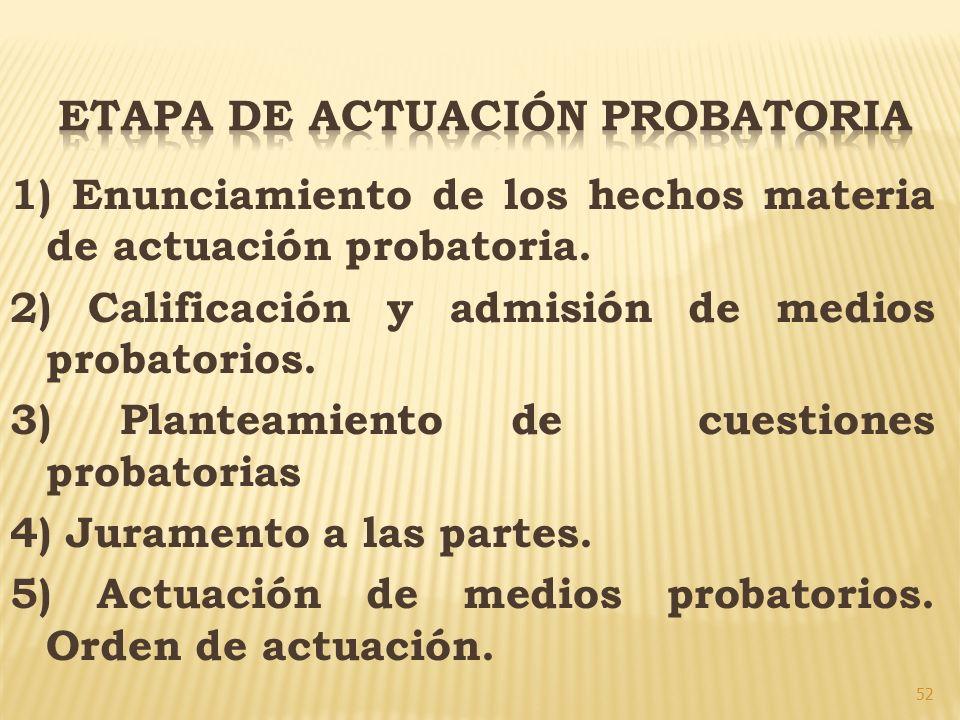 52 1) Enunciamiento de los hechos materia de actuación probatoria. 2) Calificación y admisión de medios probatorios. 3) Planteamiento de cuestiones pr