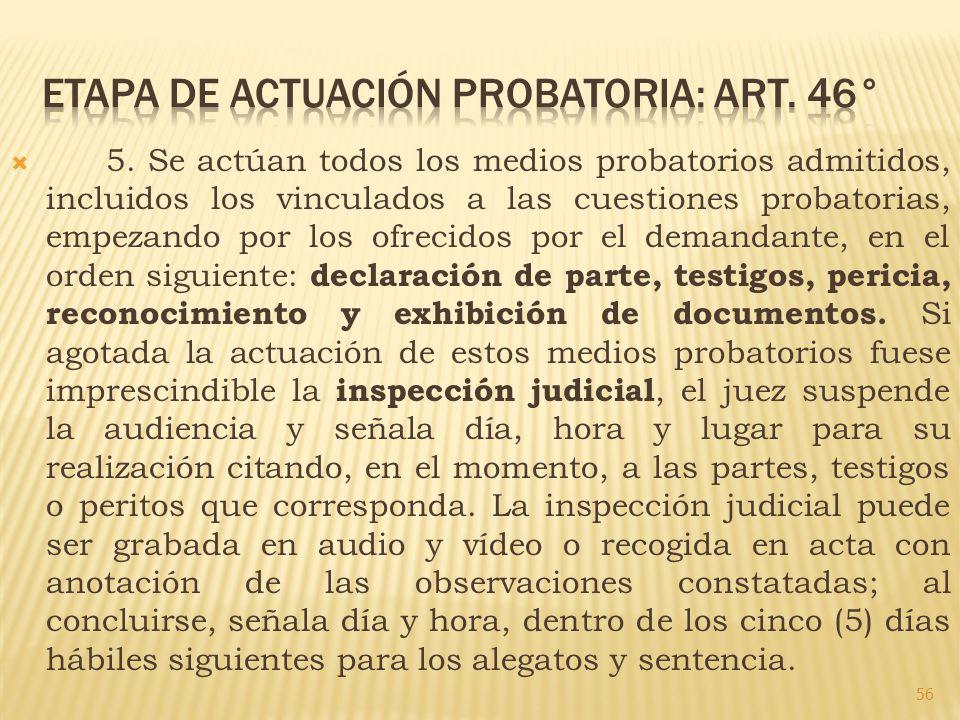 5. Se actúan todos los medios probatorios admitidos, incluidos los vinculados a las cuestiones probatorias, empezando por los ofrecidos por el demanda