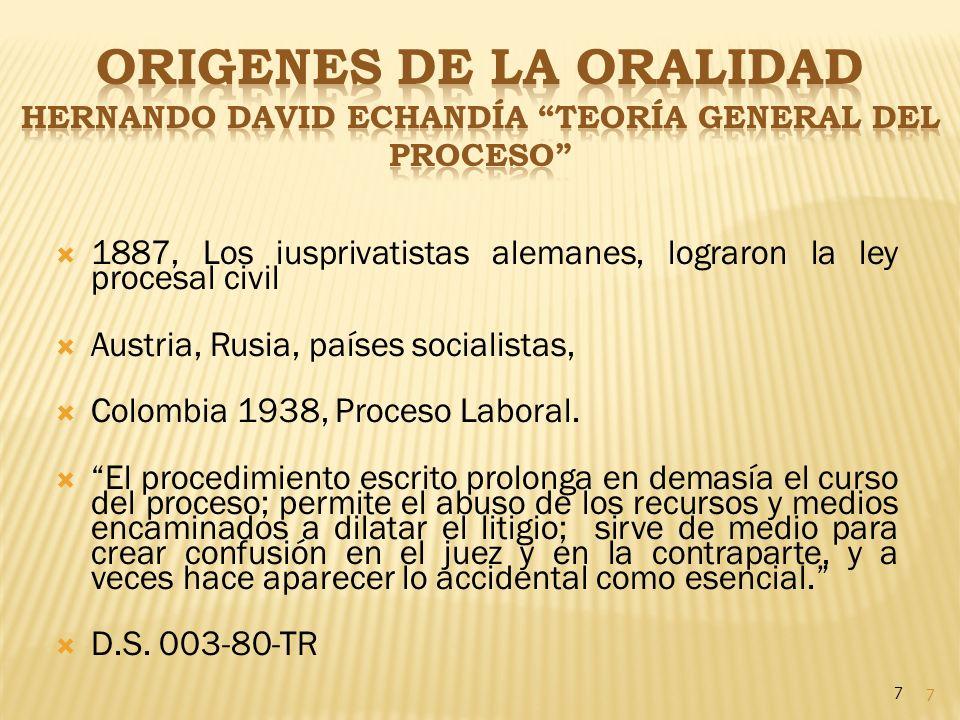 7 1887, Los iusprivatistas alemanes, lograron la ley procesal civil Austria, Rusia, países socialistas, Colombia 1938, Proceso Laboral. El procedimien