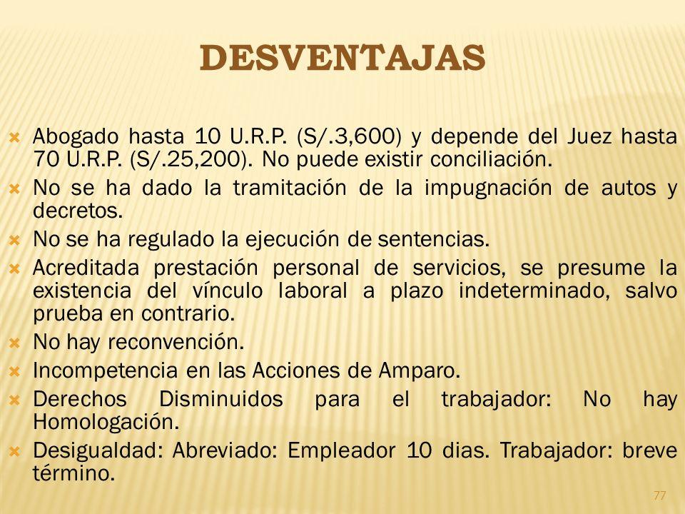DESVENTAJAS Abogado hasta 10 U.R.P. (S/.3,600) y depende del Juez hasta 70 U.R.P. (S/.25,200). No puede existir conciliación. No se ha dado la tramita