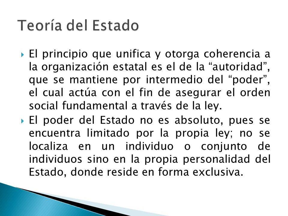 El principio que unifica y otorga coherencia a la organización estatal es el de la autoridad, que se mantiene por intermedio del poder, el cual actúa