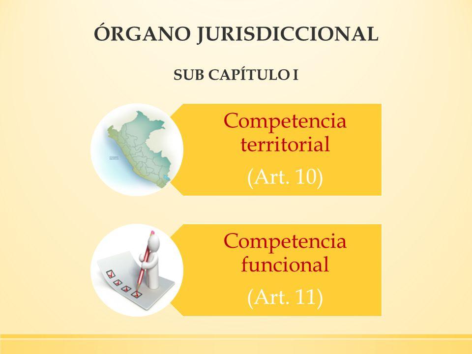 ÓRGANO JURISDICCIONAL SUB CAPÍTULO I Competencia territorial (Art. 10) Competencia funcional (Art. 11)
