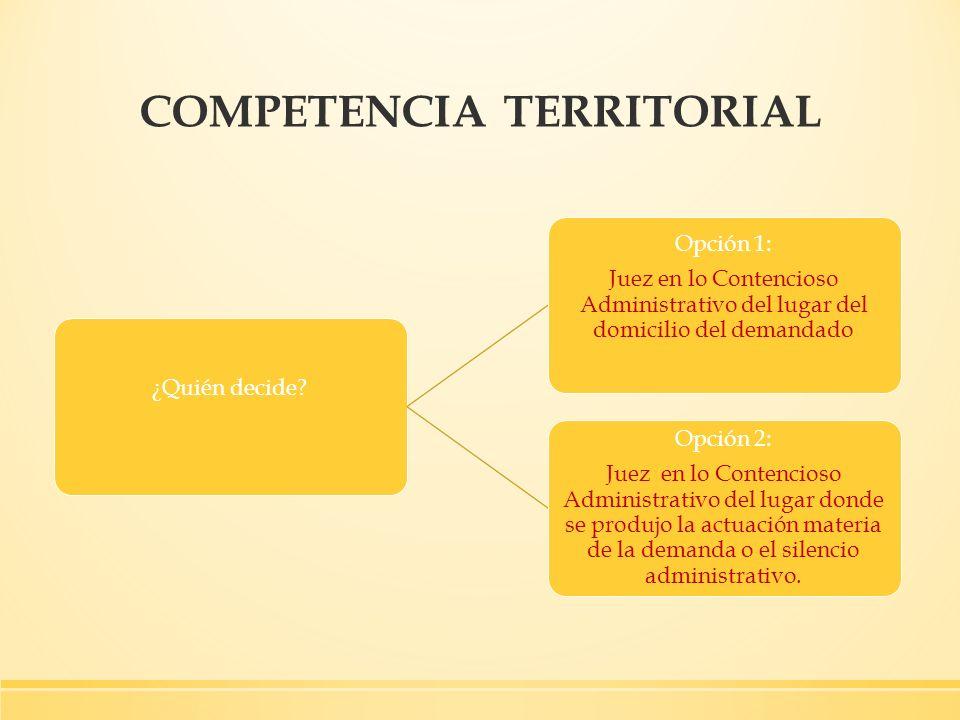 COMPETENCIA TERRITORIAL ¿Quién decide? Opción 1: Juez en lo Contencioso Administrativo del lugar del domicilio del demandado Opción 2: Juez en lo Cont