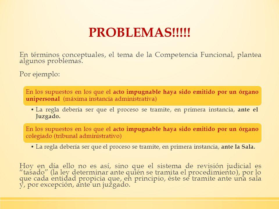 PROBLEMAS!!!!! En términos conceptuales, el tema de la Competencia Funcional, plantea algunos problemas. Por ejemplo: Hoy en día ello no es así, sino