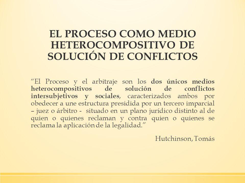 EL PROCESO COMO MEDIO HETEROCOMPOSITIVO DE SOLUCIÓN DE CONFLICTOS El Proceso y el arbitraje son los dos únicos medios heterocompositivos de solución d