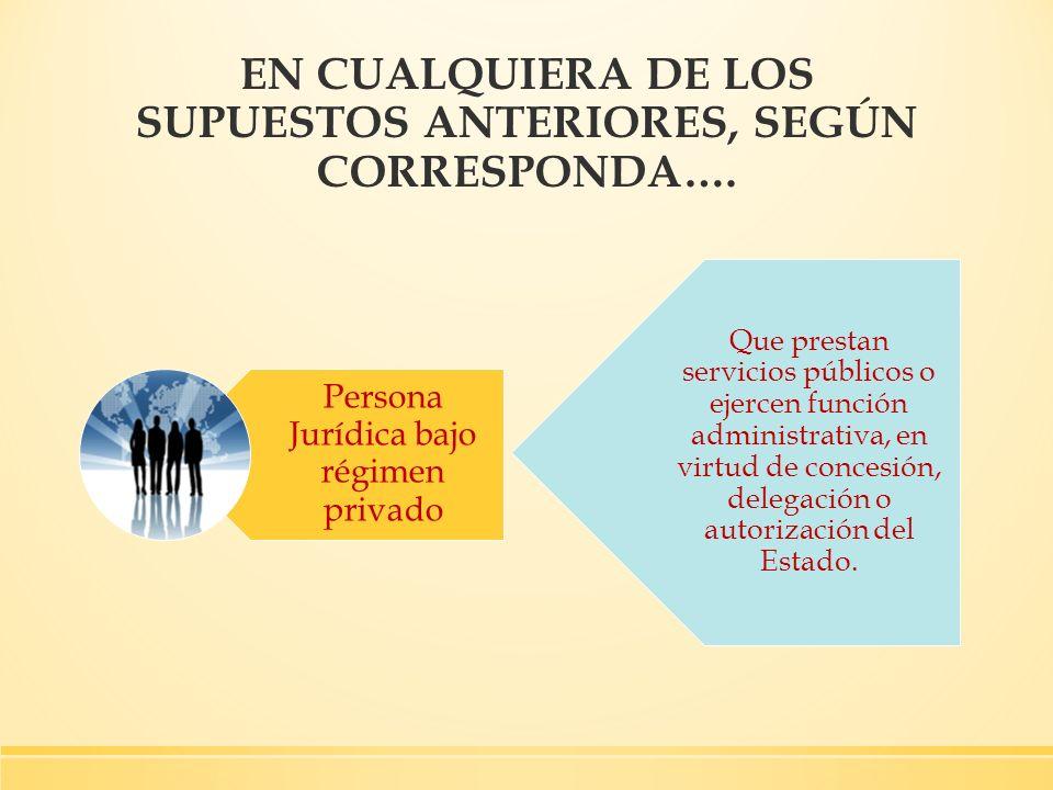Persona Jurídica bajo régimen privado EN CUALQUIERA DE LOS SUPUESTOS ANTERIORES, SEGÚN CORRESPONDA…. Que prestan servicios públicos o ejercen función
