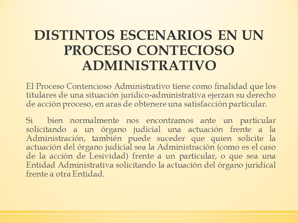 DISTINTOS ESCENARIOS EN UN PROCESO CONTECIOSO ADMINISTRATIVO El Proceso Contencioso Administrativo tiene como finalidad que los titulares de una situa