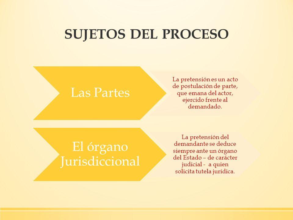SUJETOS DEL PROCESO Las Partes La pretensión es un acto de postulación de parte, que emana del actor, ejercido frente al demandado. El órgano Jurisdic