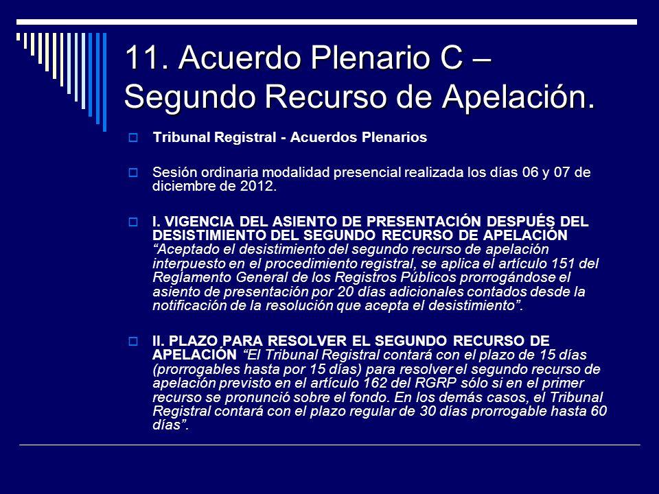 11. Acuerdo Plenario C – Segundo Recurso de Apelación. Tribunal Registral - Acuerdos Plenarios Sesión ordinaria modalidad presencial realizada los día