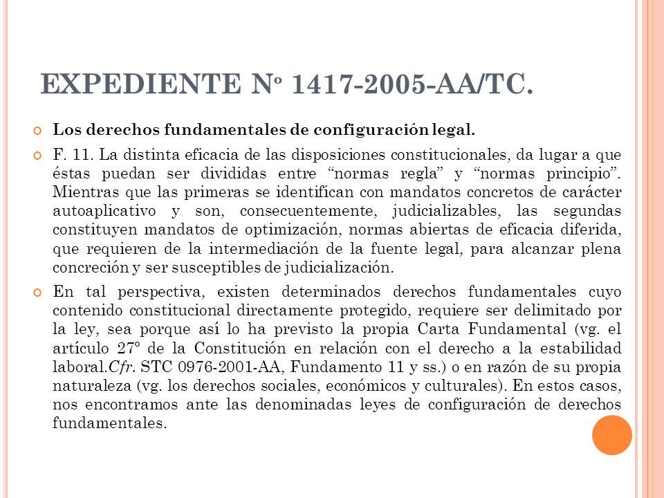 EXPEDIENTE N º 1417-2005-AA/TC. Los derechos fundamentales de configuración legal. F. 11. La distinta eficacia de las disposiciones constitucionales,