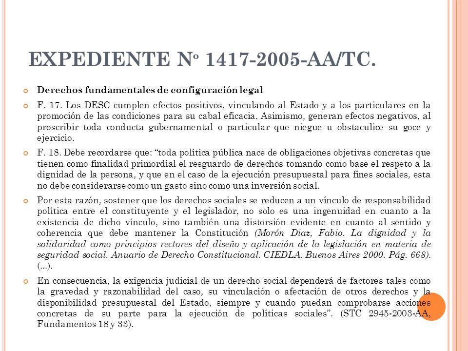 EXPEDIENTE N º 1417-2005-AA/TC. Derechos fundamentales de configuración legal F. 17. Los DESC cumplen efectos positivos, vinculando al Estado y a los