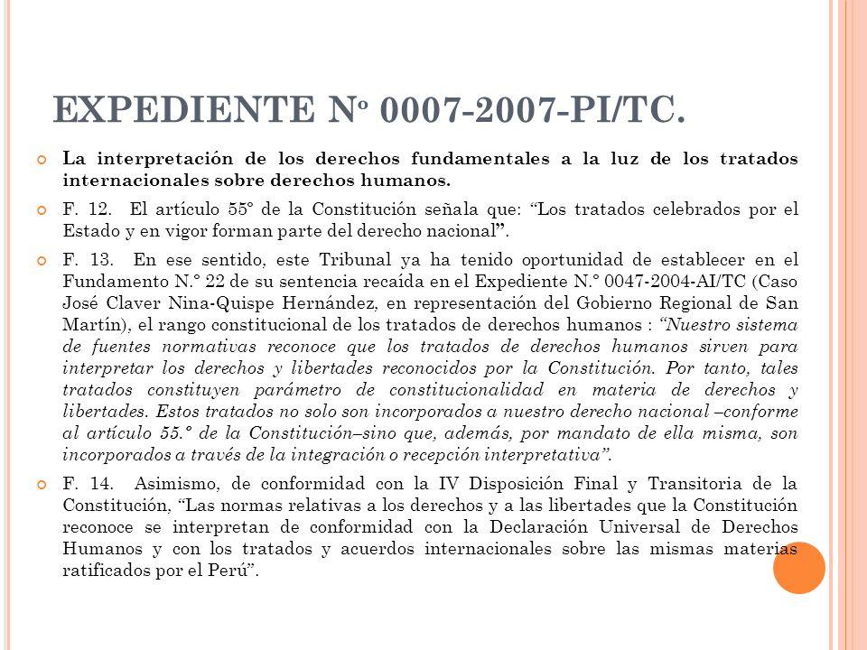 EXPEDIENTE N º 0007-2007-PI/TC. La interpretación de los derechos fundamentales a la luz de los tratados internacionales sobre derechos humanos. F. 12