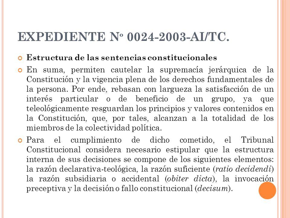 EXPEDIENTE N º 0024-2003-AI/TC. Estructura de las sentencias constitucionales En suma, permiten cautelar la supremacía jerárquica de la Constitución y