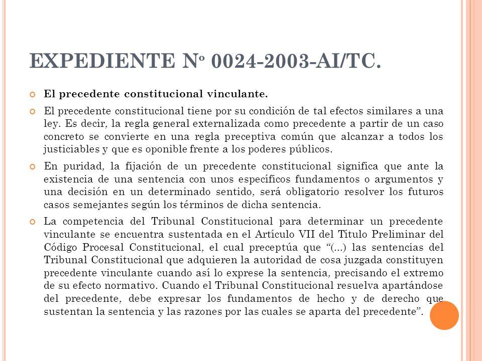 EXPEDIENTE N º 0024-2003-AI/TC. El precedente constitucional vinculante. El precedente constitucional tiene por su condición de tal efectos similares