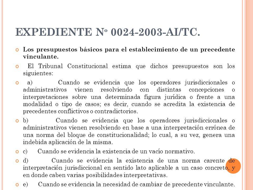 EXPEDIENTE N º 0024-2003-AI/TC. Los presupuestos básicos para el establecimiento de un precedente vinculante. El Tribunal Constitucional estima que di
