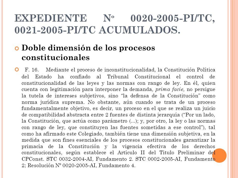 EXPEDIENTE N º 0020-2005-PI/TC, 0021-2005-PI/TC ACUMULADOS. Doble dimensión de los procesos constitucionales F. 16. Mediante el proceso de inconstituc