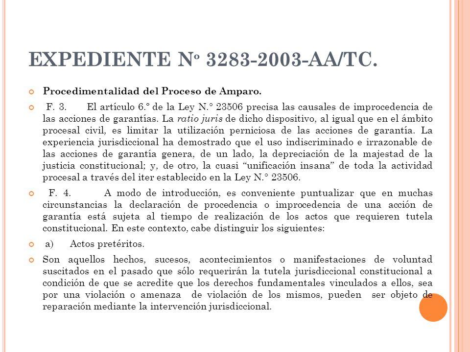 EXPEDIENTE N º 3283-2003-AA/TC. Procedimentalidad del Proceso de Amparo. F. 3. El artículo 6.º de la Ley N.° 23506 precisa las causales de improcedenc