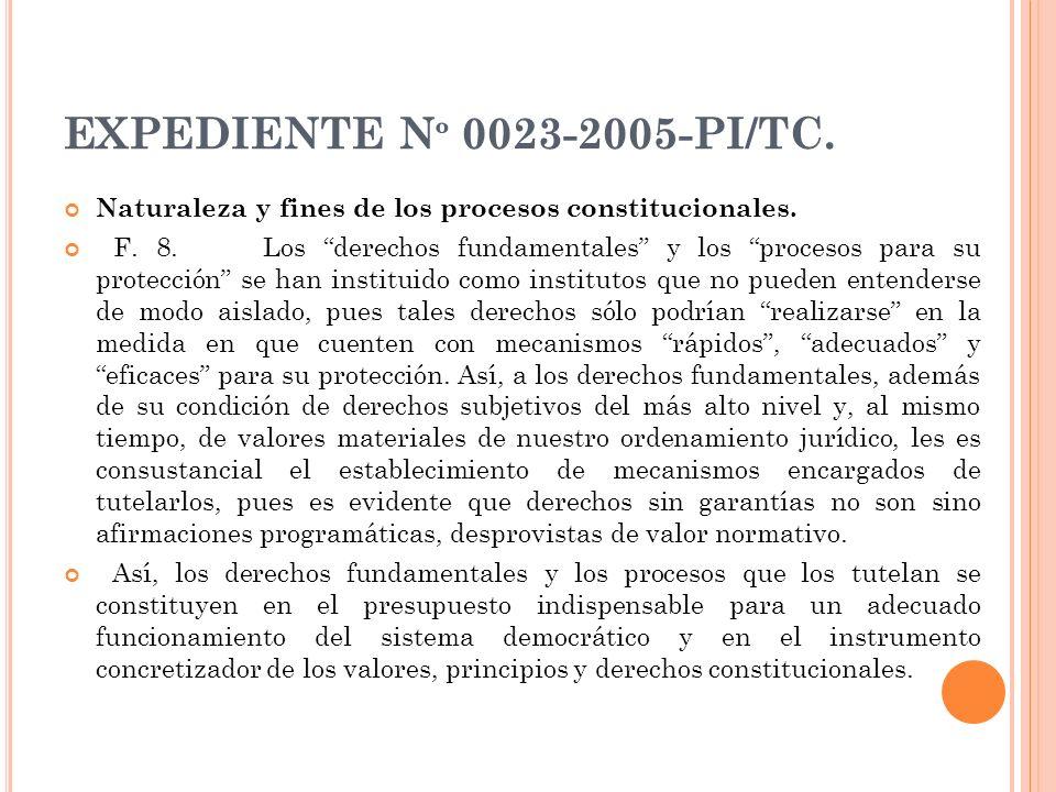 EXPEDIENTE N º 0023-2005-PI/TC. Naturaleza y fines de los procesos constitucionales. F. 8. Los derechos fundamentales y los procesos para su protecció