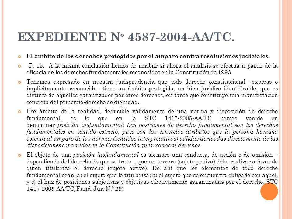 EXPEDIENTE N º 4587-2004-AA/TC. El ámbito de los derechos protegidos por el amparo contra resoluciones judiciales. F. 15. A la misma conclusión hemos