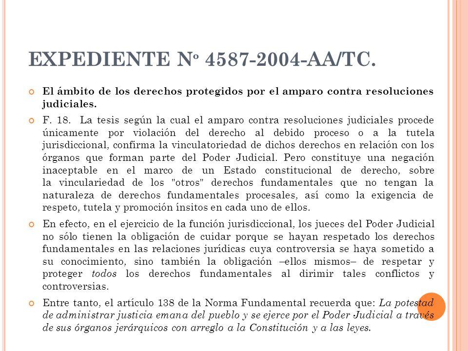 EXPEDIENTE N º 4587-2004-AA/TC. El ámbito de los derechos protegidos por el amparo contra resoluciones judiciales. F. 18. La tesis según la cual el am
