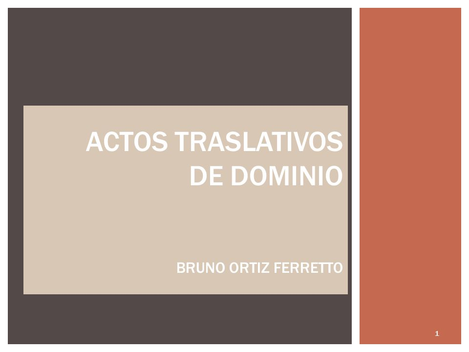 ACTOS TRASLATIVOS DE DOMINIO BRUNO ORTIZ FERRETTO 1