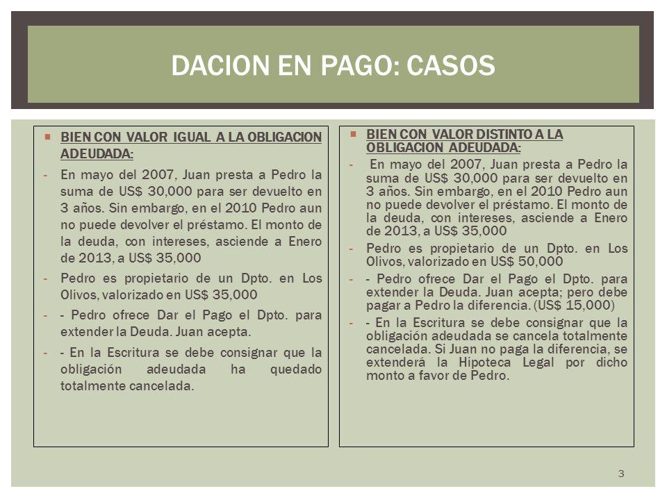 BIEN CON VALOR IGUAL A LA OBLIGACION ADEUDADA: -En mayo del 2007, Juan presta a Pedro la suma de US$ 30,000 para ser devuelto en 3 años. Sin embargo,