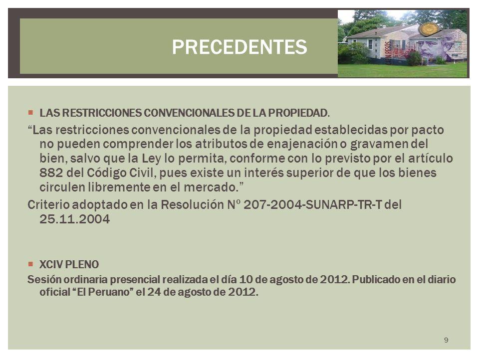 LAS RESTRICCIONES CONVENCIONALES DE LA PROPIEDAD. Las restricciones convencionales de la propiedad establecidas por pacto no pueden comprender los atr
