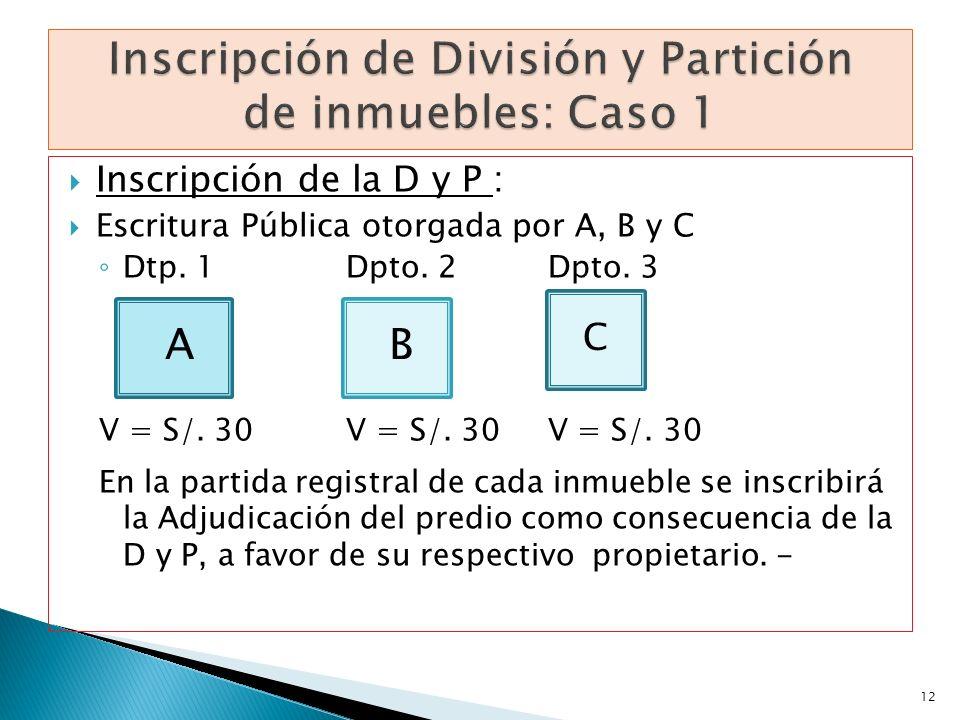 Inscripción de la D y P : Escritura Pública otorgada por A, B y C Dtp. 1Dpto. 2 Dpto. 3 V = S/. 30 V = S/. 30 V = S/. 30 En la partida registral de ca
