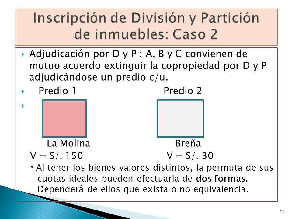 Adjudicación por D y P : A, B y C convienen de mutuo acuerdo extinguir la copropiedad por D y P adjudicándose un predio c/u. Predio 1Predio 2 La Molin