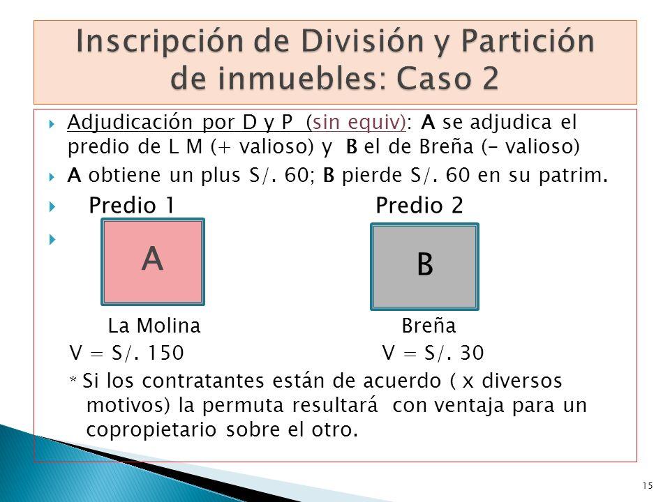Adjudicación por D y P (sin equiv): A se adjudica el predio de L M (+ valioso) y B el de Breña (- valioso) A obtiene un plus S/. 60; B pierde S/. 60 e