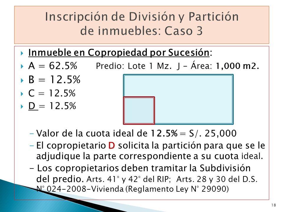 Inmueble en Copropiedad por Sucesión: A = 62.5% Predio: Lote 1 Mz. J - Área: 1,000 m2. B = 12.5% C = 12.5% D = 12.5% -Valor de la cuota ideal de 12.5%