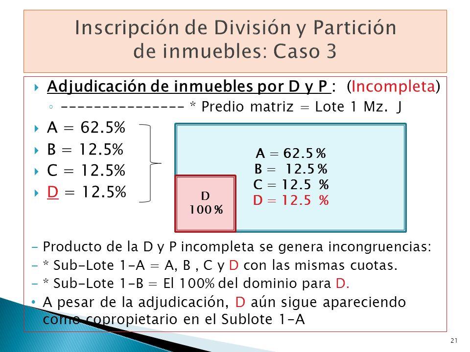 Adjudicación de inmuebles por D y P : (Incompleta) --------------- * Predio matriz = Lote 1 Mz. J A = 62.5% B = 12.5% C = 12.5% D = 12.5% -Producto de