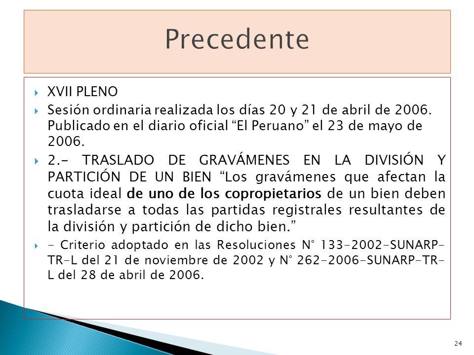 XVII PLENO Sesión ordinaria realizada los días 20 y 21 de abril de 2006. Publicado en el diario oficial El Peruano el 23 de mayo de 2006. 2.- TRASLADO