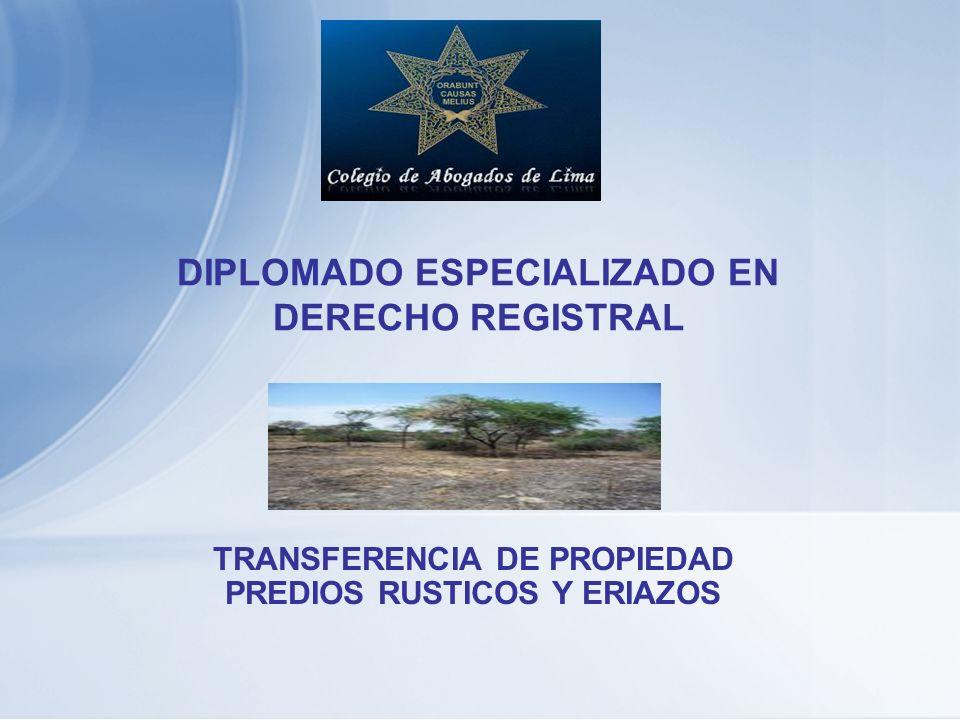 DIPLOMADO ESPECIALIZADO EN DERECHO REGISTRAL TRANSFERENCIA DE PROPIEDAD PREDIOS RUSTICOS Y ERIAZOS