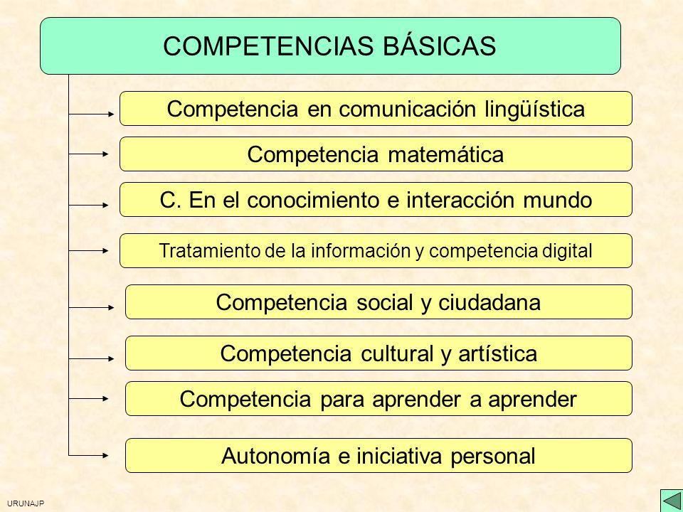 URUNAJP Competencias básicas ActitudesSaberesHabilidadesExperiencias Contexto necesarios para Inclusión social Empleo Ciudadanía activa Incorporación vida adulta Aprendizaje permanente Realización personal Realización social