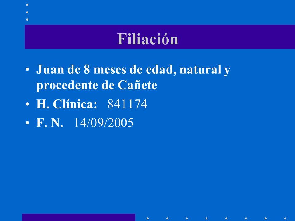 Filiación Juan de 8 meses de edad, natural y procedente de Cañete H. Clínica: 841174 F. N. 14/09/2005