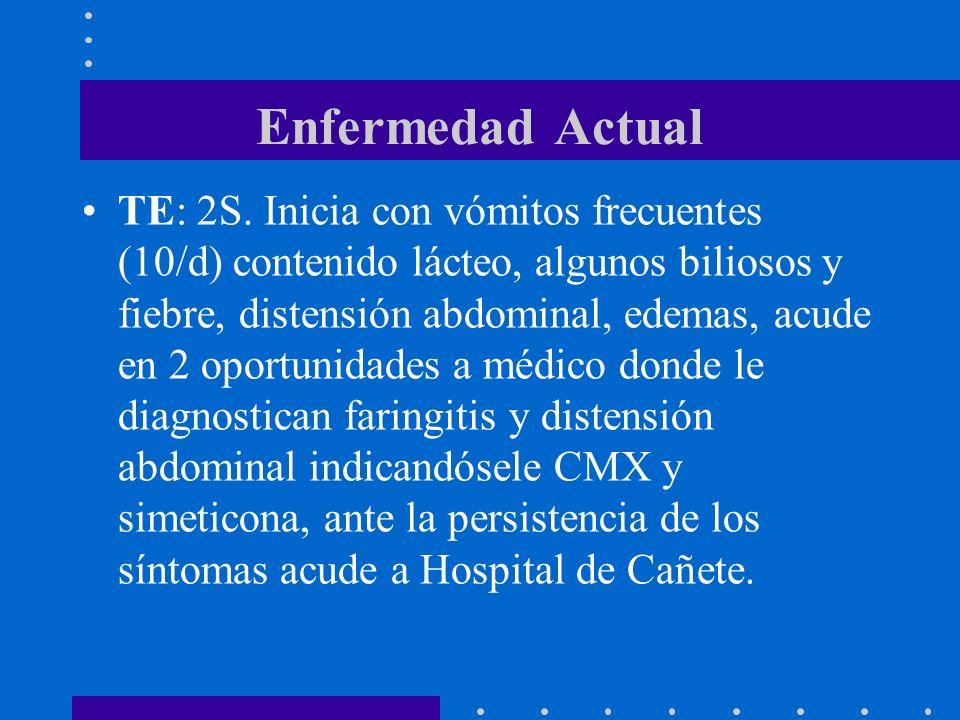 Enfermedad Actual TE: 2S. Inicia con vómitos frecuentes (10/d) contenido lácteo, algunos biliosos y fiebre, distensión abdominal, edemas, acude en 2 o